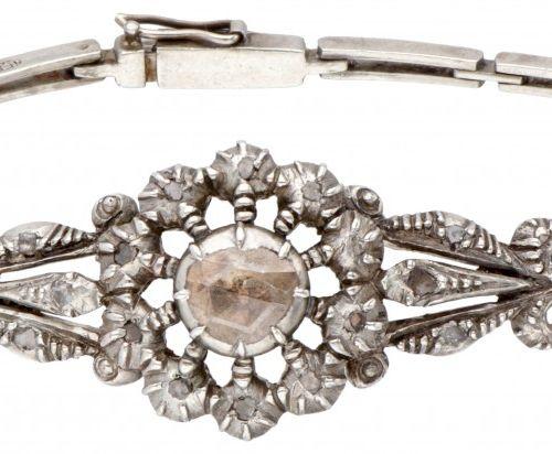Silver antique openwork bracelet set with rose cut diamond 925/1000. Avec clip d…