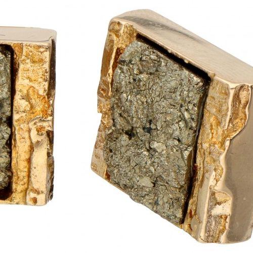 Björn Weckström for Lapponia 14K. Yellow gold 'Montezuma' cufflinks set with pyr…