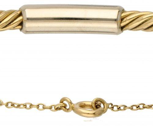 18K. Bicolor gold Pomellato bangle bracelet. Avec chaîne de sécurité. Poinçons :…
