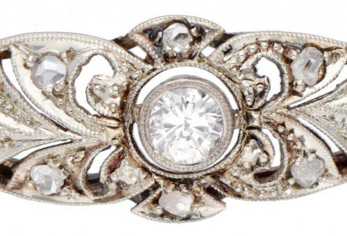 14K. White gold openwork Art Deco bracelet set with approx. 0.15 ct. Diamond. 印记…