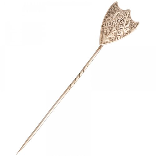 Antique BLA 10K. Rose gold lapel pin with floral engraved decoration and acanthu…