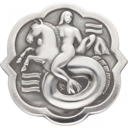Arno Malinowski for Georg Jensen no.277 silver 'Mermaid riding a seahorse' brooc…