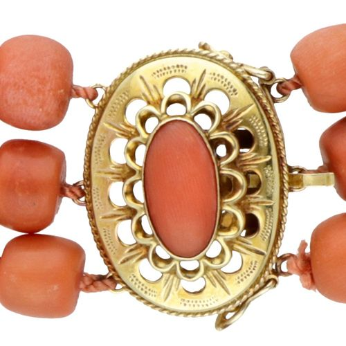 Three row antique red coral necklace with a 14K. Yellow gold openwork closure. P…