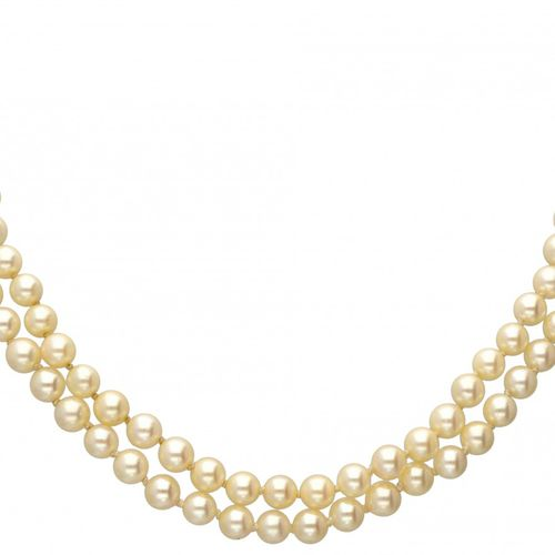Two row freshwater pearl necklace with a 14K. Rose gold and 925/1000 silver clos…