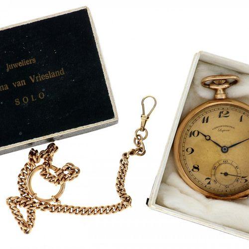 Chronometer Supra Golden pocket watch with golden chain ca. 1915. Boîtier : or 1…
