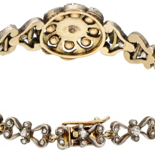 14K. Yellow gold and 925/1000 silver bracelet set with rose cut diamond. 印章:585,…