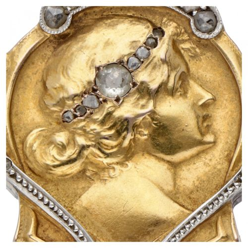 14K. Yellow gold Art Nouveau medallion pendant set with approx. 0.09 ct. Diamond…