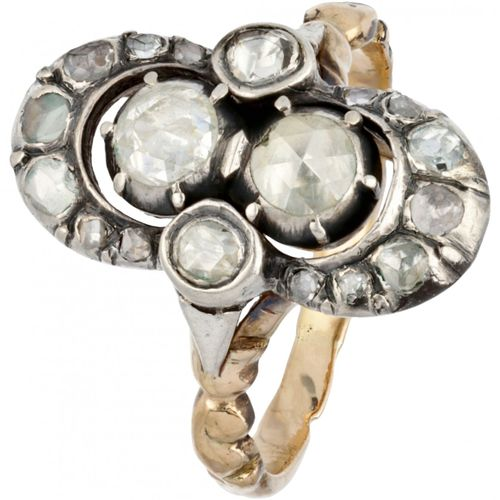 14K. Yellow gold ornately decorated vintage ring set with rose cut diamonds. Poi…