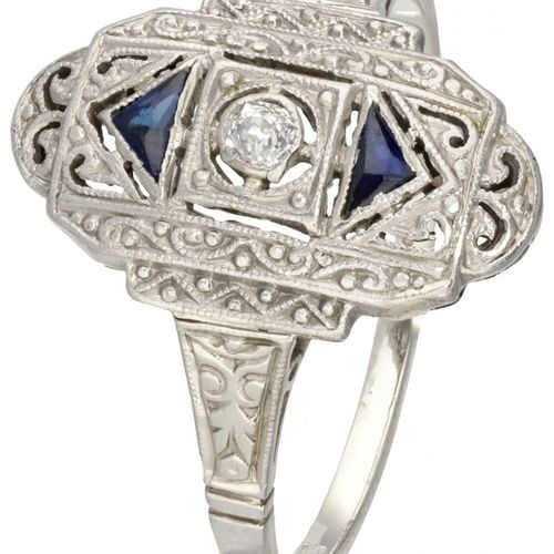 14K. White gold and Pt 950 platinum openwork Art Deco dinner ring set with appro…