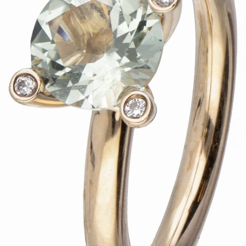 18K. Rose gold Bron ring set with approx. 1.50 ct. Aquamarine and approx. 0.04 c…