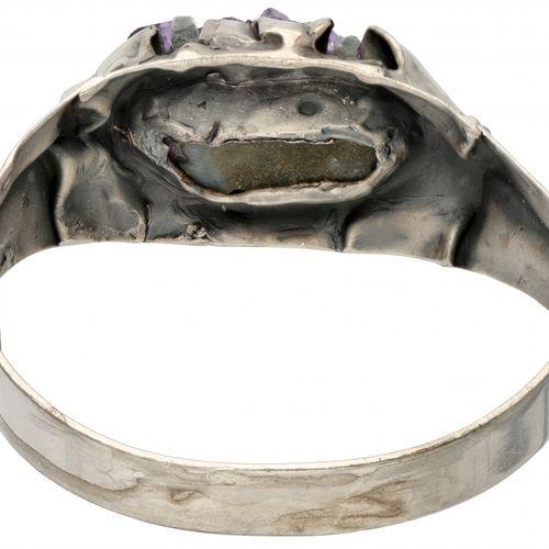 Silver Reino Saastamoinen vintage bangle set with uncut amethyst crystals 925/10…