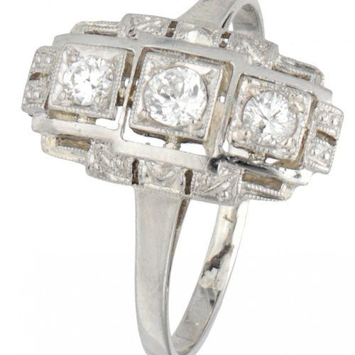 BLA 10K. White gold Art Deco princess ring set with approx. 0.20 ct. Diamond. 镶嵌…