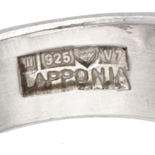 Björn Weckström for Lapponia silver 'Microns' acrylic ring 925/1000. 印章。拉波尼亚标志,9…