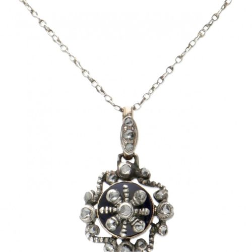 Antique 14K. White gold necklace and pendant set with diamond and Bristol glass.…