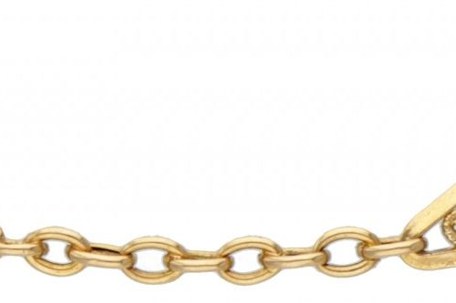 18K. Yellow gold filigree link necklace. 印章:750。长:41厘米。重量:4.13克。