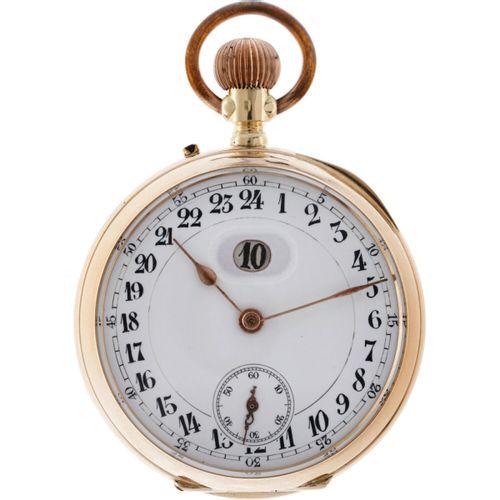 Jump Hour Lever Escapement Men's pocket watch apprx. 1900. 表壳: 黄金(14K) 手动上链 最近一次…
