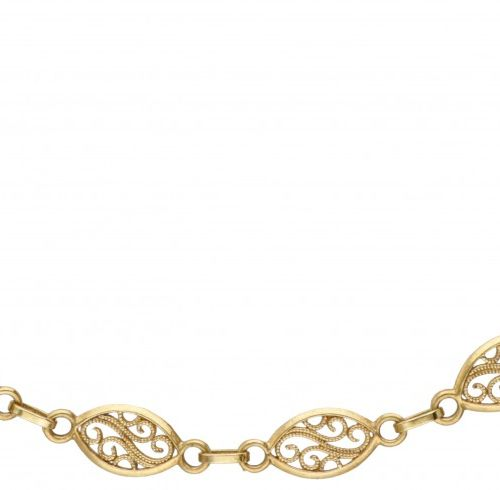 18K. Yellow gold filigree link necklace. 印记:750,*18 AR,意大利。长:91厘米。重量:18.85克。