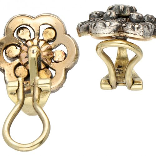 14K. Yellow gold vintage flower shaped earclips set with diamonds in 925/1000 si…