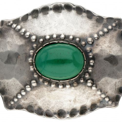 Silver Amsterdam School Art Deco hammered brooch / pendant set with chrysoprase …
