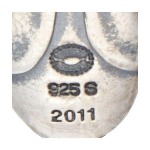 Silver Georg Jensen earrings of the year 2011, set with rose quartz 925/1000. De…