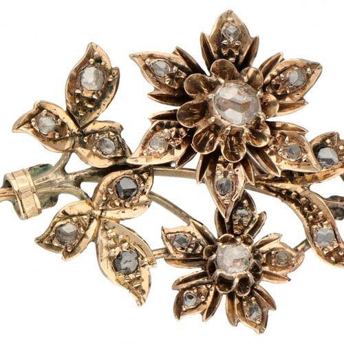 14K. Rose gold antique flower bouquet pendant set with rose cut diamond. 印记:橡树叶。…