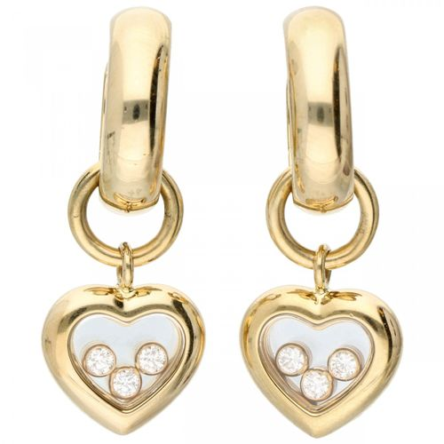 18K. Yellow gold Chopard 'Happy Diamonds' earrings set with approx. 0.12 ct. Dia…