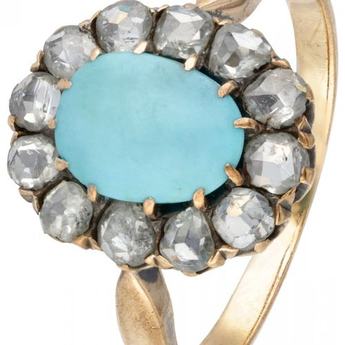 14K. Yellow gold rosette ring set with approx. 1.08 ct. Turquoise and rose cut d…
