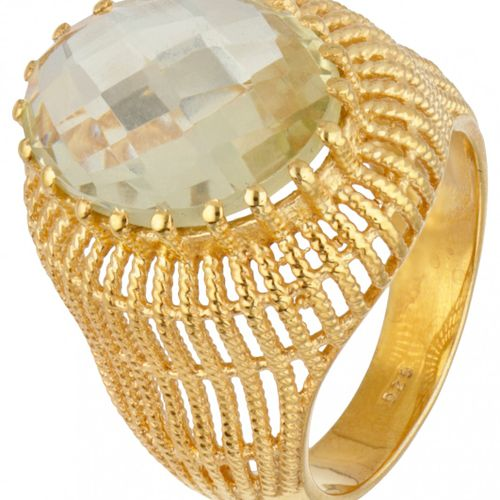 Gold plated silver ring set with approx. 5.98 ct. Lemon quartz 925/1000. 印章:925。…