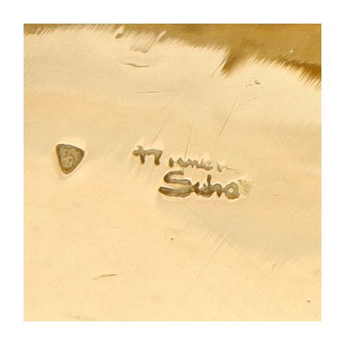 Exclusive 14K. Yellow gold Anneke Schat design bangle. Poinçons : signé Anneke S…