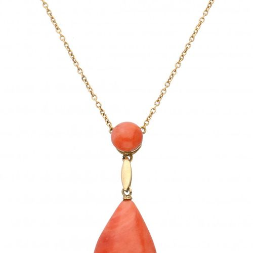 14K. Yellow gold vintage necklace with a red coral pendant. Corail rouge 1x envi…