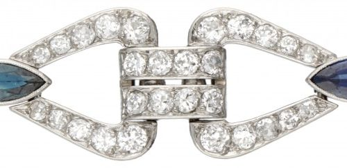Pt 900 Platinum bracelet set with approx. 3.52 ct. Diamond and approx. 2.80 ct. …