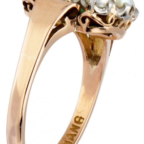 14K. Yellow gold Foo Hang Jewelry entourage ring set with approx. 0.73 ct. Natur…