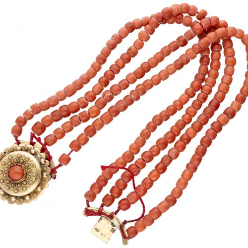 Antique four row red coral necklace with a finely crafted 14K. Yellow gold closu…