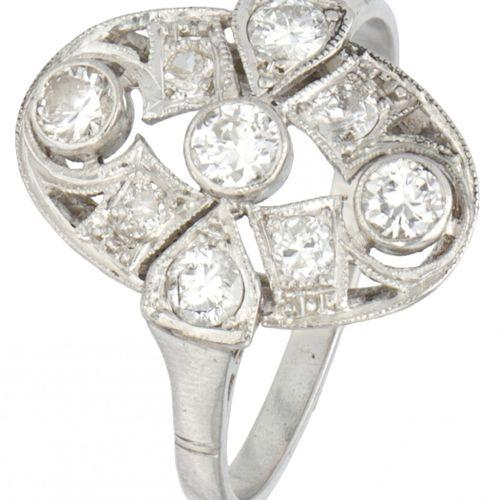 Pt 900 Platinum openwork Art Deco ring set with approx. 0.57 ct. Diamond. Poinço…