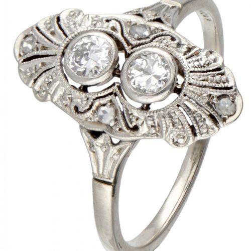 BLA. 10K. White gold openwork Art Deco ring with approx. 0.20 ct. Diamond. Serti…