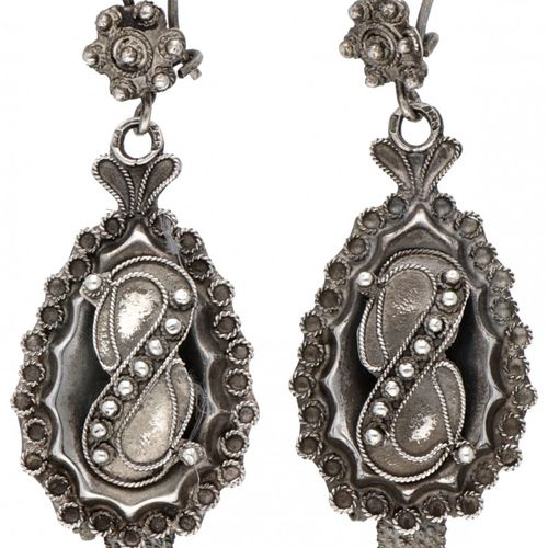 Silver antique earrings with cantille work and knot / cord decoration 835/1000. …