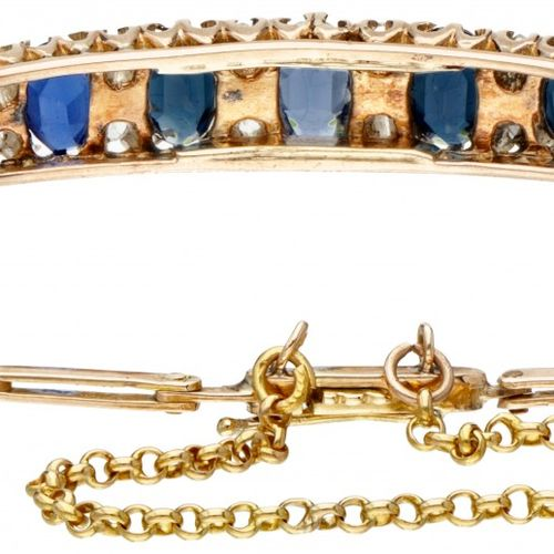 BLA 10K. Yellow gold Art Deco bracelet set with diamond and blue stone. Poinçons…