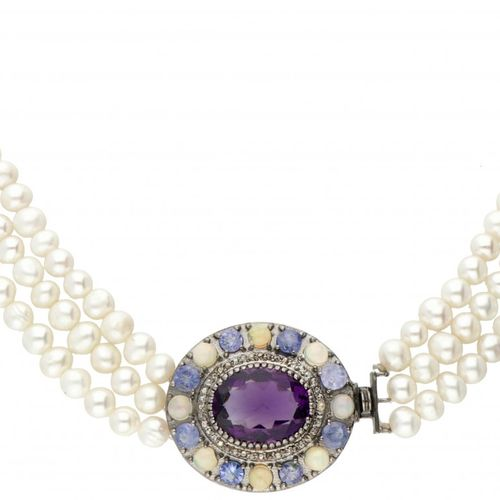 Three row freshwater pearl necklace with silver closure set with amethyst, welo …