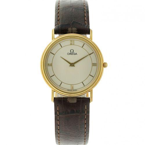 Omega Men's watch apprx. 2000. Boîtier : or jaune (18 kt.) bracelet : cuir quart…