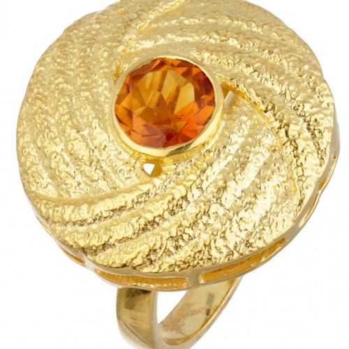 Gold plated silver ring set with citrine 925/1000. Poinçon : 925. Avec une citri…