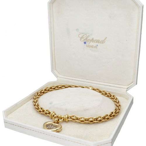 18K. Yellow gold Chopard necklace with 'Happy Diamonds Heart' detachable pendant…