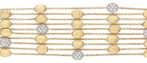 18K. Yellow gold Marco Bicego 'Confetti Oro Five Strand' bracelet set with appro…