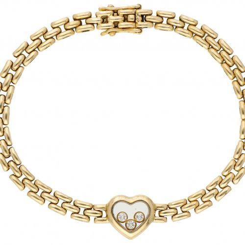 19.2K. Yellow gold Chopard L.U.C. Happy Diamonds bracelet set with approx. 0.09 …