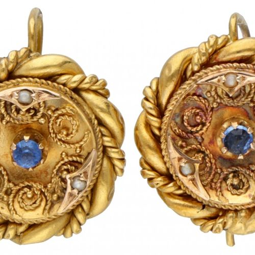 14K. Yellow gold antique earrings set with seed pearls and blue stone. Poinçon :…