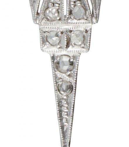 14K. White gold with Pt 900 platinum Art Deco pendant set with diamonds. 印章。镶嵌17…