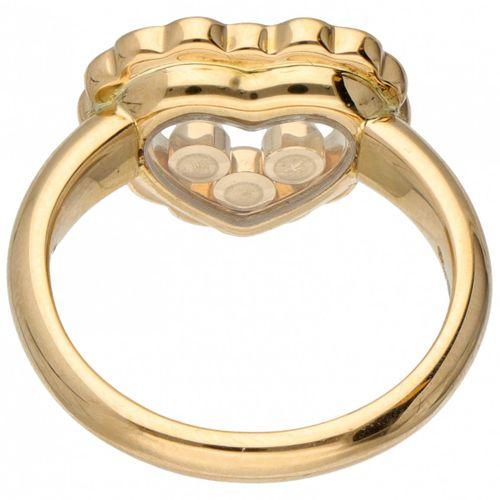 18K. Yellow gold Chopard 'Happy Diamonds' heart shaped ring. Sertie de 19 diaman…