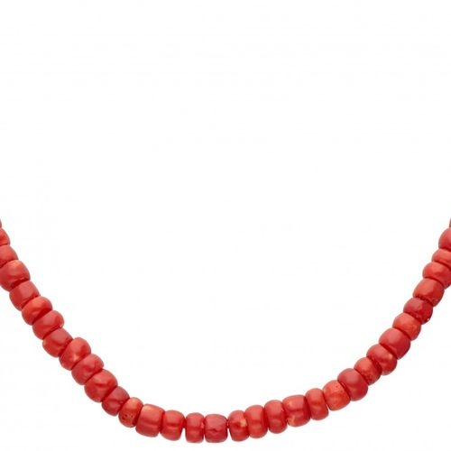 Antique single strand red coral necklace with a flower shaped 14K. Yellow gold c…