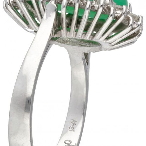 14K. White gold entourage ring set with approx. 5.62 ct. Chrysoprase and approx.…