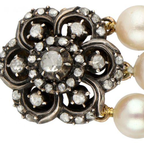 Three row vintage freshwater pearl bracelet with rose cut diamonds set in 14K. Y…