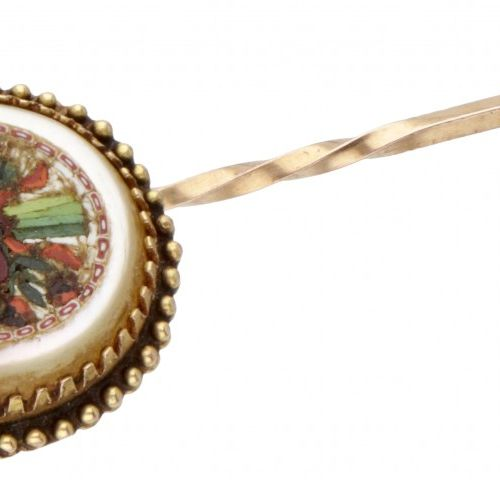 14K. Yellow gold antique lapel pin with floral micro mosaic inlaid in mother of …